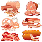 Meat and Sausages Icon Set. Detailed Illustration — Stock Photo