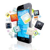 Touchscreen Smart Phone with Cloud of Application Icons. — Stock Photo