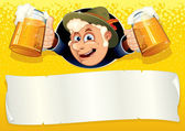 Oktoberfest Poster with Funny Brewer — Stock Photo