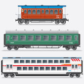 Passagier spoorweg waggon, spoorweg personenauto 's. — Stockfoto
