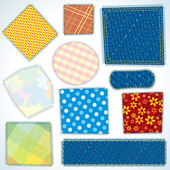 Set of Various Isolated Cloth, Fabric Patches. — Stock Photo