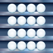 Blechboden mit leeren glas-buttons. — Stockfoto
