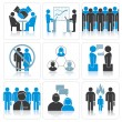 Human Resources and Management Vector Icons Set. — Stock Vector