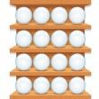 Wooden Shelf with Round Glass Buttons. Vector Art — Stock Vector