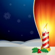 Christmas Scene with Lighting Candle - Stock Photo