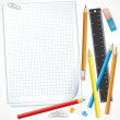 Stock Photo: Notebook Paper with Pencils. Illustration