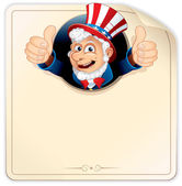 Cartoon Uncle Sam on Blank Paper Sign — Stock Photo