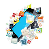 Mobile Smart Phone with Software Apps Icons Around — Stock Photo