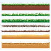 Ground Cutaway, Desert and Grass Elements. — Stock Photo