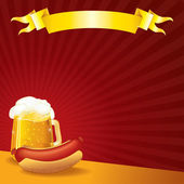 Tavern Poster Template. Sausage and Mug of Beer — Stock Photo