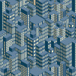 Stock Photo: Night City. Isometric Pattern Illustration