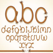 Rope Font. Set of Alphabet Letters from String — Stock Photo