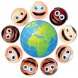Smiley Faces Around Colourful Globe. — Stock Photo #27256115