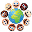 Smiley Faces Around Colourful Globe. — Stock Photo