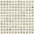 Set of 144 Paper Stickers with Web Icons — Foto Stock