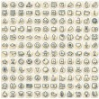 Set of 144 Paper Stickers with Web Icons — Foto de Stock