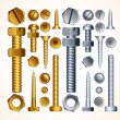 Stock Photo: Metal Screws, Bolts, Nuts and Rivets, Isolated