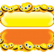 Funny Banner with Smiley Faces — Stock Photo