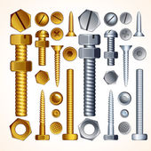 Metal Screws, Bolts, Nuts and Rivets, Isolated — Foto de Stock