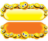 Funny Banner with Smiley Faces — 图库照片