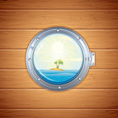 Tropical Sea Island from Porthole — Stock Photo