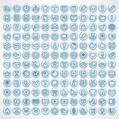 Velká sbírka lesklé počítač ikony — Stock fotografie
