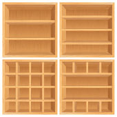 Set of Wooden Bookshelf, Cabinets. — Stock Photo