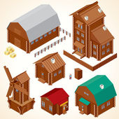 Isometric Wood House. Rural Houses and Log Cabins — Stock Photo