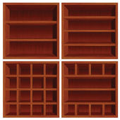 Empty Wooden Cell Shelf. Dark Red Wood Set — Stock Photo