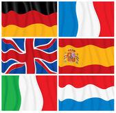 Set of Waving European Flags. — Stock Photo