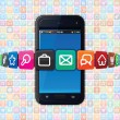 Smart Phone with Internet Icons. Technology Theme — Stock Photo