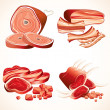 Meat Set. Ham,Gammon, Bacon, Ribs, Steaks Icons — Stock Photo