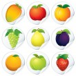 Set of Isolated Stickers with Fresh Fruit Icons — Stock Photo