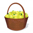 Juicy Sweet Apples in Basket — Stock Photo