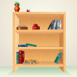 Wooden Bookcase — Stock Photo