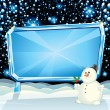 Cartoon Christmas Card Snowman — Stockfoto #27737995