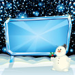 Cartoon kerstkaart-Sneeuwman — Stockfoto #27737995