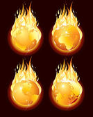 Burning Planet Earth, Conceptual Illustration — Stock Photo