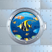 Cartoon Illustration. Porthole and Colorful Fishes — Stock Photo