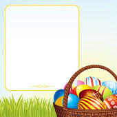 Easter Background. Colorful Eggs in Wicker Basket. — Stock Photo