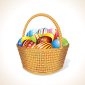 Easter Basket with Painted Eggs — Stock Photo