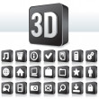 3D Apps Icon Technology Pictogram on Square Button — ストック写真