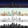 Stock Photo: City Landscape at Day and Night Time.