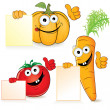 Cute Cartoon Vegetables with Sign — Stock Photo