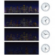 Stock Photo: Night Time Skyline. Set of Illustrations