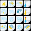 Stock Photo: Cartoon Weather Forecast Icons. Paper Stickers