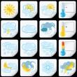 Cartoon-Wettervorhersage-Symbole. Papier-Aufkleber — Stockfoto