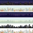 Stockfoto: Wide Cityscape Different Time. Illustration