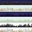 Wide Cityscape Different Time. Illustration — Stock Photo