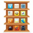 Stock Photo: Wood Shelves with Computer Apps Icons.
